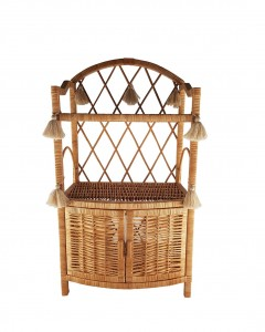 "WIKLIBOX ""PUFFY"" WICKER CABINET IN NATURAL COLOR WITH TASSELS"