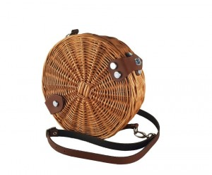 "Wiklibox wicker & leather round handbag ""Baugy"" in NATURAL color"